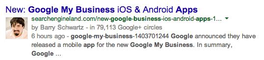 Google+ gamla sökresultatet